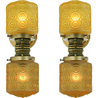 Pair of Vintage Elevator Wall Sconces Edwardian Style Lights Lighting (ANT-888)