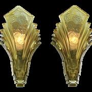 Pair of Art Deco Martele Sconces Vintage 1930s Slip Shade Wall Lights (ANT-897)