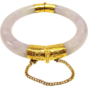 Beautiful Vintage Estate 22 Karat Chinese Lavender Jade Screw Hinge Bracelet with GIA Certification