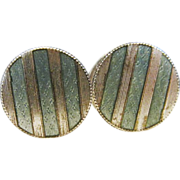 Vintage Estate Art Deco Guilloche Sterling Silver Cufflinks