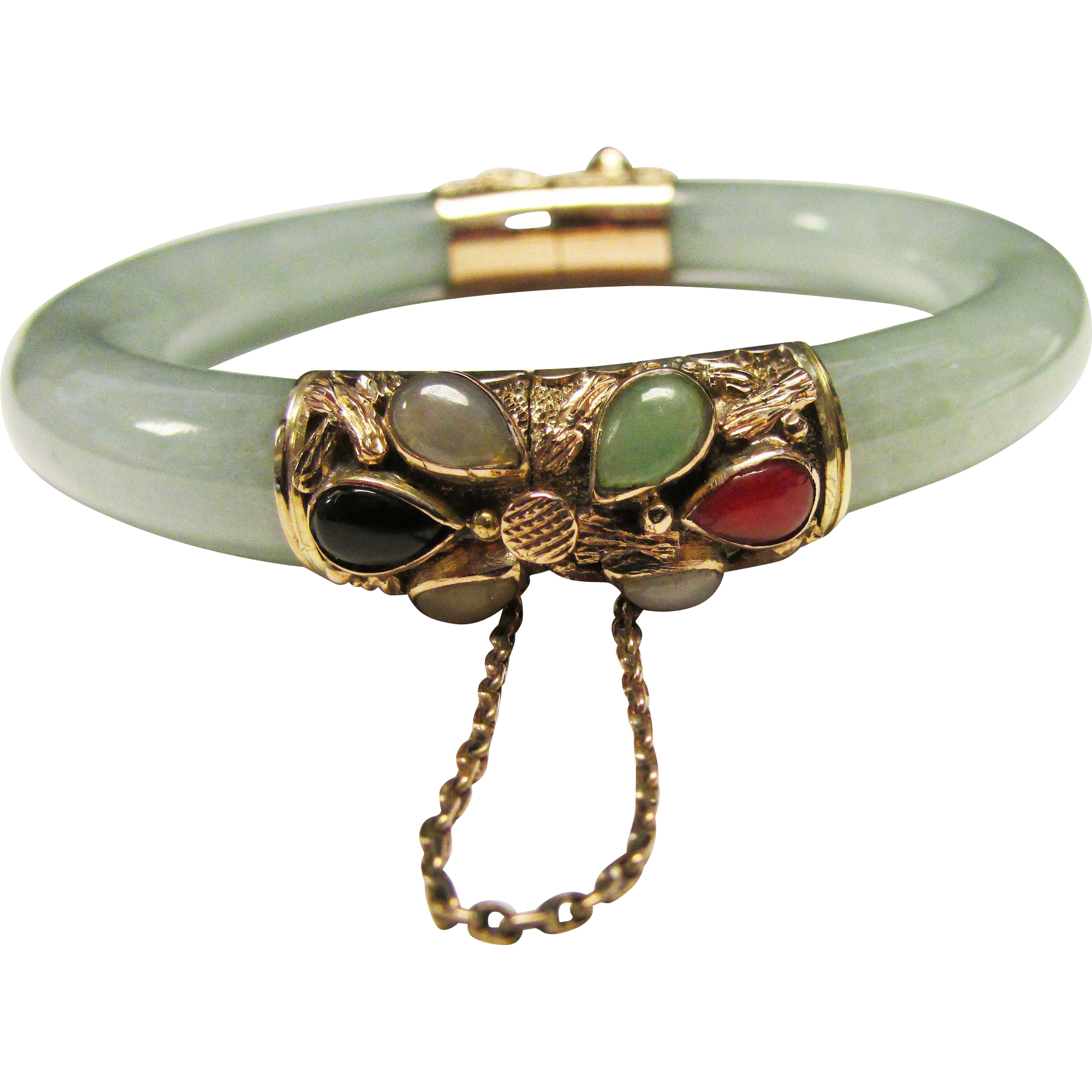 Vintage Estate 14k Ornate Gold Hinged Translucent Green Jade Bracelet Aloha Memorabilia Jewelry Ruby Lane