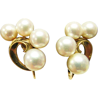 Vintage Estate Mikimoto 14K High Luster Pearl Earrings