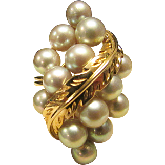 Vintage Estate Beautiful Large Ming's of Honolulu 14 High Luster Gray Pink Highlights Cultured Pearl Ring