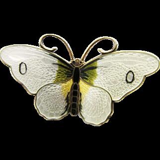 Vintage Estate Vintage Hroar Prydz Sterling Silver Gilt Gullioche Enamel Butterfly Pin Brooch