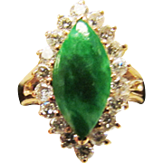 Vintage Estate 14K Gold Mount Translucent Green with Green Vein Marquise Jade and Diamond Ring