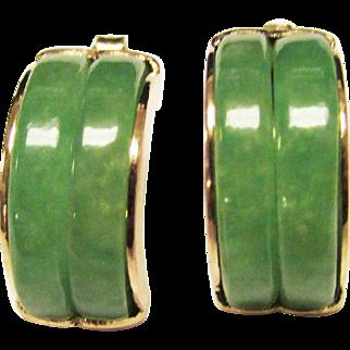 Vintage Estate 14KT Gold Double Hoop Apple Green Jade Earrings