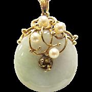 Vintage Estate 14KT Gold Ornate Cultured Pearl Mount Light Green and Lavender Bi or Pi Pendant