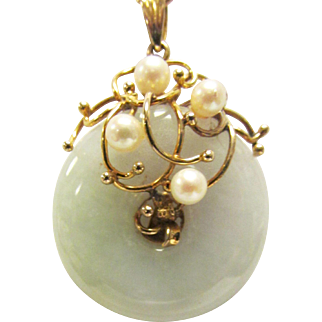 Vintage Estate 14KT Gold Ornate Cultured Pearl Mount Light Green and Lavender Bi or Pi Pendant