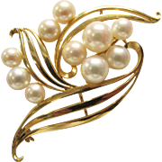 Vintage Estate Mikimoto 14K 10 High Luster Cultured Pearl Brooch