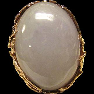 Vintage Estate Beautiful 14K Ornate Mount Thick Translucent Lavender Jade Cabochon Ring