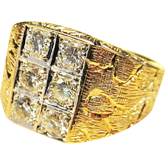 Vintage Estate Heavy 14K Yellow and White Gold 6 Stone Diamond Ring