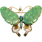 Vintage Estate Large Mid Century 14K Thick Carved  Green Jade Butterfly with Enameling Pin Pendant Brooch