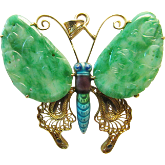 Vintage Estate Large Mid Century 14K Carved Green Jade Butterfly with Enameling Pin Pendant Brooch