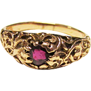 Vintage Estate Victorian Reppousse 14K Gold with Old Cut Ruby Stone Ring