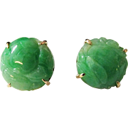 Vintage Estate Large 14KT Gold Thick Carved Green Jade Earrings