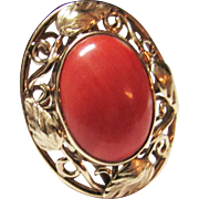 Vintage Estate Mid Century Heavier Ornate 14KT Salmon Pink Coral Ring