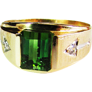 Vintage Estate Mens or Gents Mid Century 14K Emerald Cut Green Tourmaline Approx 1.46 ct Ring