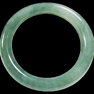 Vintage Estate GIA Certified Translucent Green Gray Jadeite Bangle Bracelet
