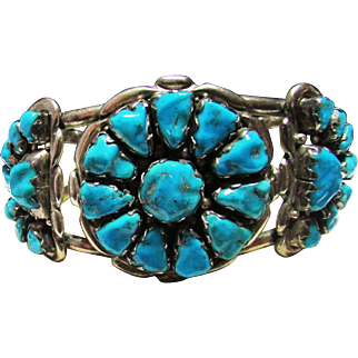 Vintage Estate Alvina Quam Zuni Silver Turquoise Cuff Bracelet