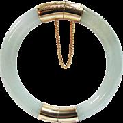 Vintage Estate 14K Hinged Translucent Jade Bracelet