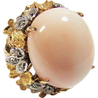 Vintage Estate Mid Century 14KT Yellow and White Gold Thick Angel Skin Coral with Diamond Accents Ring