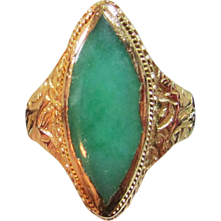Vintage Estate Early Mid Century 22K Gold Chinese High Karat Green Veined Marquise Jade Ring Calligraphy Marked