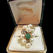 Vintage Estate Custom Ming's of Honolulu 9 High Luster Pink Toned Cultured Pearl Old Cut Diamond and Adventurine Ring