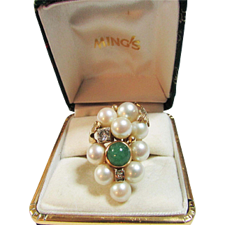 Vintage Estate Custom Ming's of Honolulu 9 High Luster Pink Toned Cultured Pearl Old Cut Diamond and Adventurine Ring