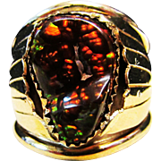 Vintage Estate Southwestern Large Gents 12K Gold Fire Agate Ring Hallmarked
