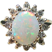 Vintage Estate 14K Yellow Gold Opal Diamond Accented Ring