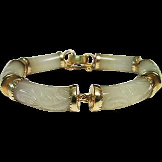 Vintage Estate Ming's of Honolulu 14K Capped Link Translucent Carved Jade Bracelet Hard to Find