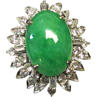Vintage Estate Mid Century 18K White Gold Translucent Jadeite and Diamond Accent Ring GIA Certified A Grade Natural