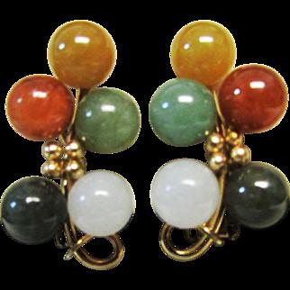 Vintage Estate Beautiful  Ming's of Honolulu 14k Gold 10 Multi color Jade Pierced Earrings