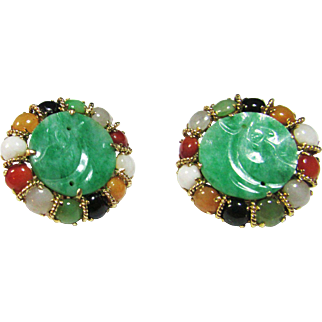Vintage Estate Exceptional Mid Century 14KT Carved Jade with  Jade Accents Pierced Omega Backs Earrings