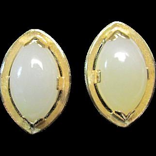 Vintage Estate Ming's of Honolulu Mid Century 14K Marquise Cut White Jade Earrings