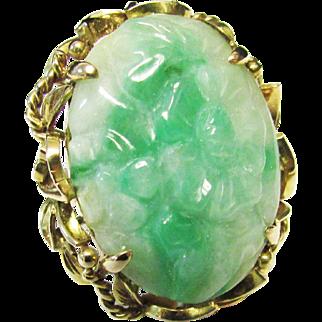 Vintage Estate Mid Century Larger Ornate 14K Gold Mount Translucent Carved Jade Ring