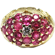 Vintage Estate Beautiful Mid Century 14K Etched Brushed Gold Ruby and Diamond Dome Ring