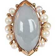 Vintage Estate Beautiful Ming's of Honolulu Marquise Cut Jade with 10 High Luster Cultured Pearl Accented Ring