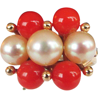 Vintage Estate Ming's of Honolulu Coral with High Luster White Pink Toned Cultured Pearl Ring