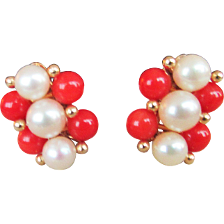 Vintage Estate Ming's of Honolulu  Coral with High Luster White Pink Tone Cultured Pearl Earrings