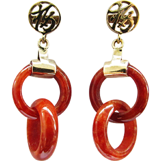 Vintage Estate 14KT Gold Calligraphy and Jade Carved Circle in Circle Drop Earrings