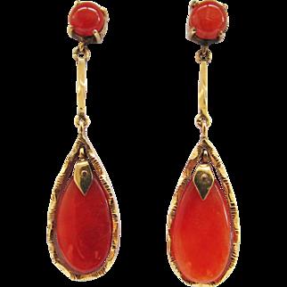 Vintage Estate Mid Century 14KT Gold Translucent  Jade Drop Earrings