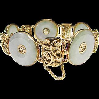 Vintage Estate Heavy Ornate 14K Gold Translucent Bi or Pi Jade Link Bracelet