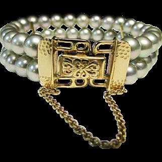 Vintage Estate Ming's of Honolulu Ornate 14K Gold Clasp High Luster Nacre Double Strand Cultured Pearl Bracelet