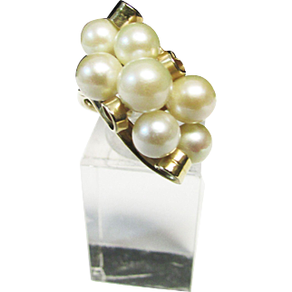 Vintage Estate Beautiful Ming's of Honolulu 7 High Luster White Pink Toned Cultured  Pearl Ring