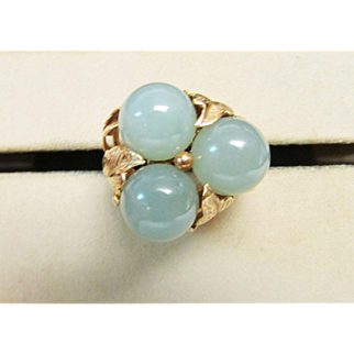 Vintage Estate Beautiful Ming's of Honolulu Jade With Gold Leaf Accented Ring
