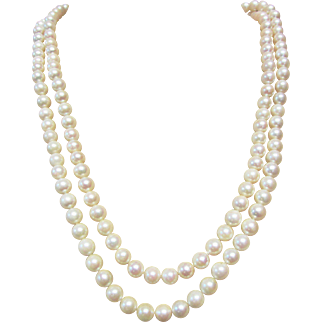 Vintage Estate Ming's of Honolulu 14K White Gold Hook and Snap 6 Cultured Pearl Clasp Double Strand White with Pink Tone Cultured Pearl Necklace