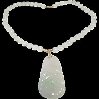"""Vintage Estate 14K Hand Knotted 25"""" 8.5 mm Translucent Jade Bead w Carved Jade Pendant Necklace"""