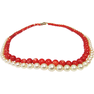 Vintage Estate Mid Century Ming's of Honolulu Graduated Red Coral with High Luster White Pink Toned Cultured Pearl Necklace