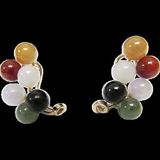 Vintage Estate Beautiful Ming's of Honolulu 14K Gold 12 Jade Ball  Omega Back Pierced Earrings